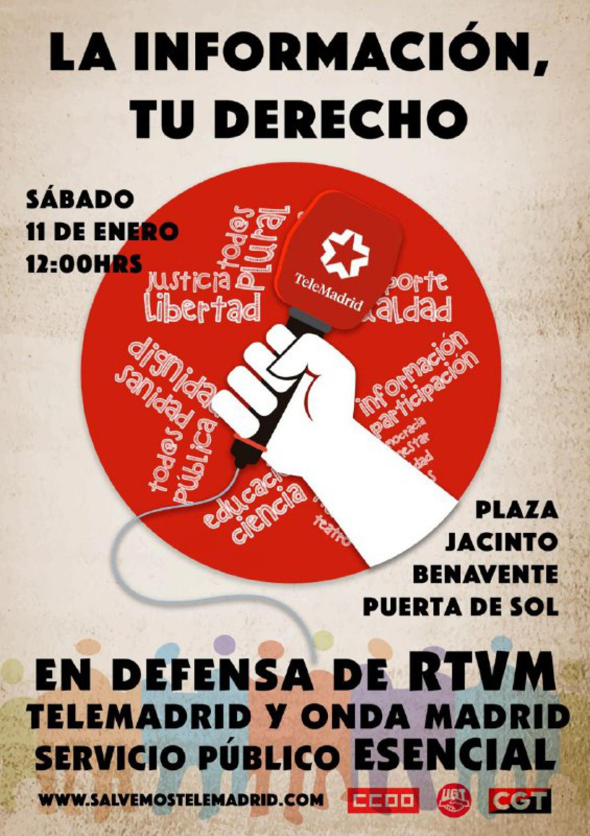 Cartel de la concentración en defensa de RTVM